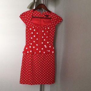 Gorgeous white polka dots red dress
